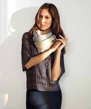 Model wearing Anthropologie sweater