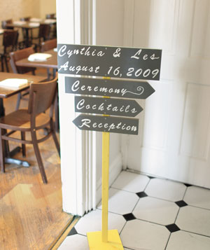 Hand-drawn wedding sign