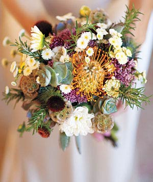 Hillary's bouquet made with succulents and flowers