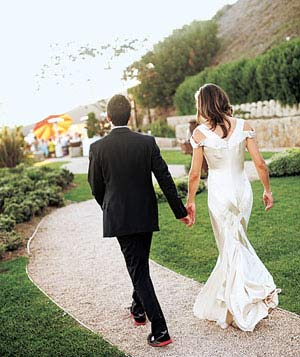 Couple walking down path