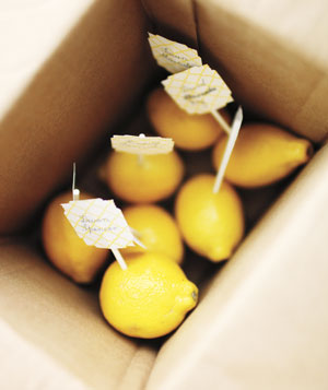 Place cards on lemons