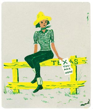 Girl sitting on a fence illustration