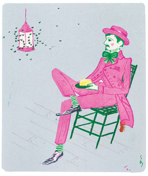 Seated man with cake illustration