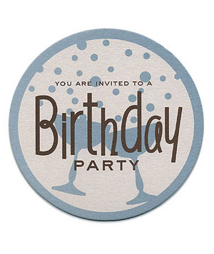 Birthday Party Invite on Coaster-Weight Stock