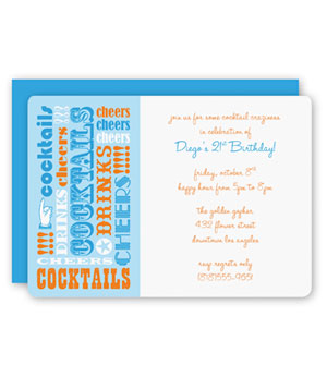 Cocktail Wild Words party invitations