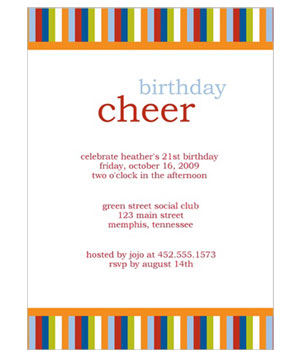 Stripe Cheer Birthday Invitation