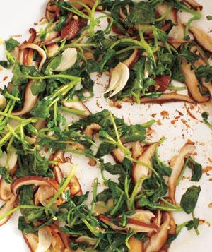 Gingery Sautéed Watercress and Shiitakes