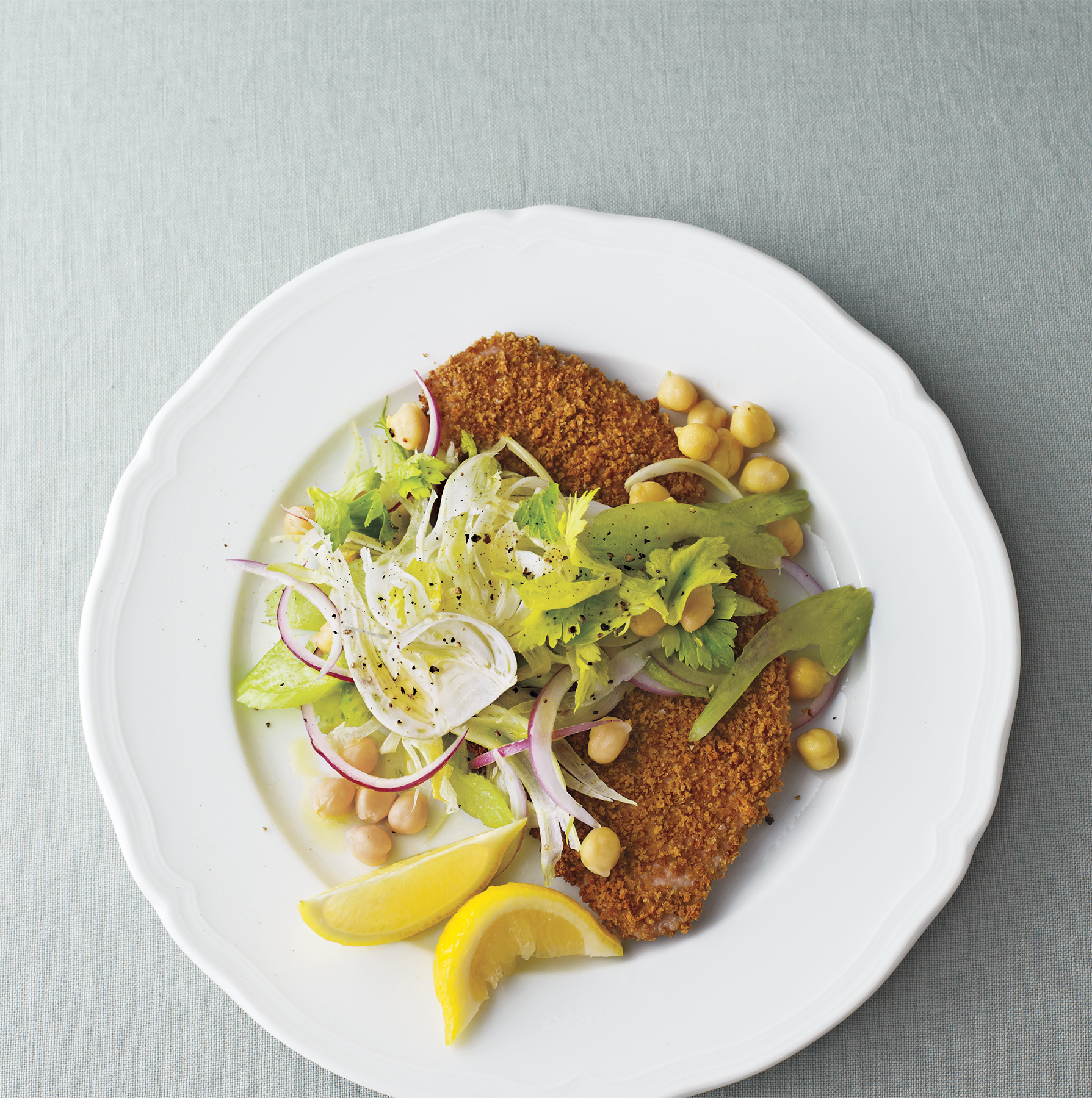 Oven-Fried Pork Cutlets With Fennel-Chickpea Slaw
