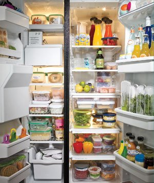 Organized refrigerator and freezer