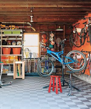 Garage with bikes and sporting goods equipment