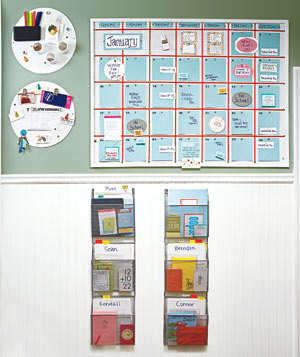 Organized family bulletin board