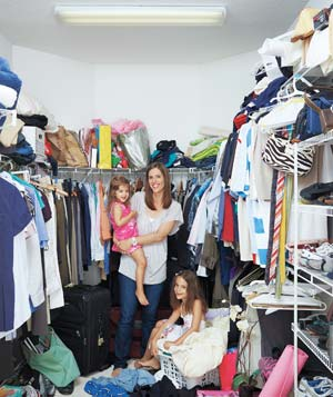 Woman and kids in closet