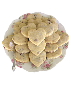 Butter Blossoms Cranberry-Walnut Shortbread Hearts