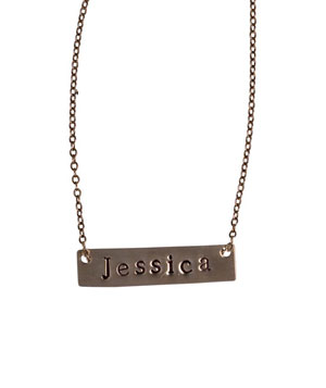 The Jessica Personalized Nameplate Necklace by Three Sisters
