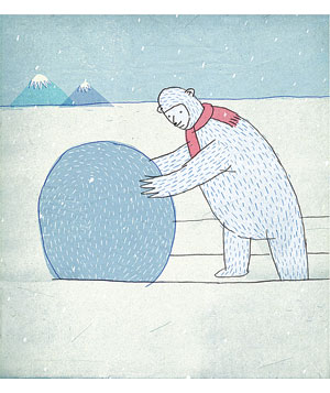 Bear makes huge snowball illustration