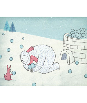 Bear with snowballs and igloo illustration