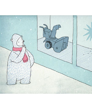 Bear looks at snow plough in store window illustration