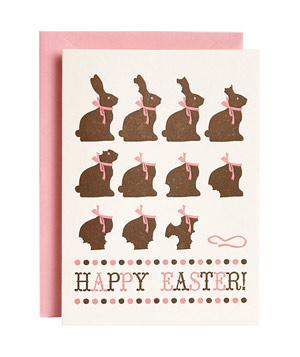 Letterpress Chocolate Bunny Easter Card