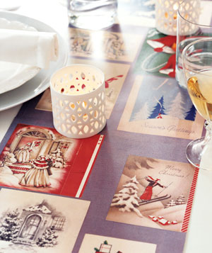 Last Year's Holiday Cards as This Year's Table Runner