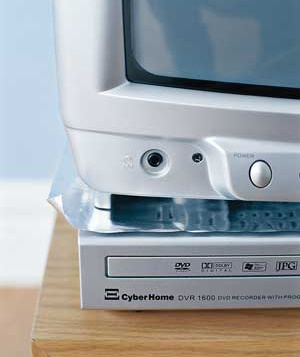 Aluminum foil placed between TV and DVD player