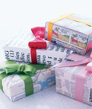 Gifts wrapped with newspaper