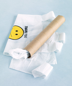 Paper towel tube used to store plastic bags