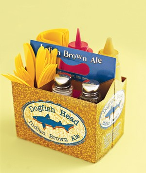 Six-pack box used as a condiment holder