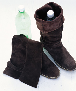Soda bottle used to shape boot