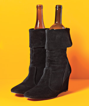 Wine bottle used to shape tall boots
