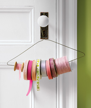 Wire hanger used to dispense ribbon