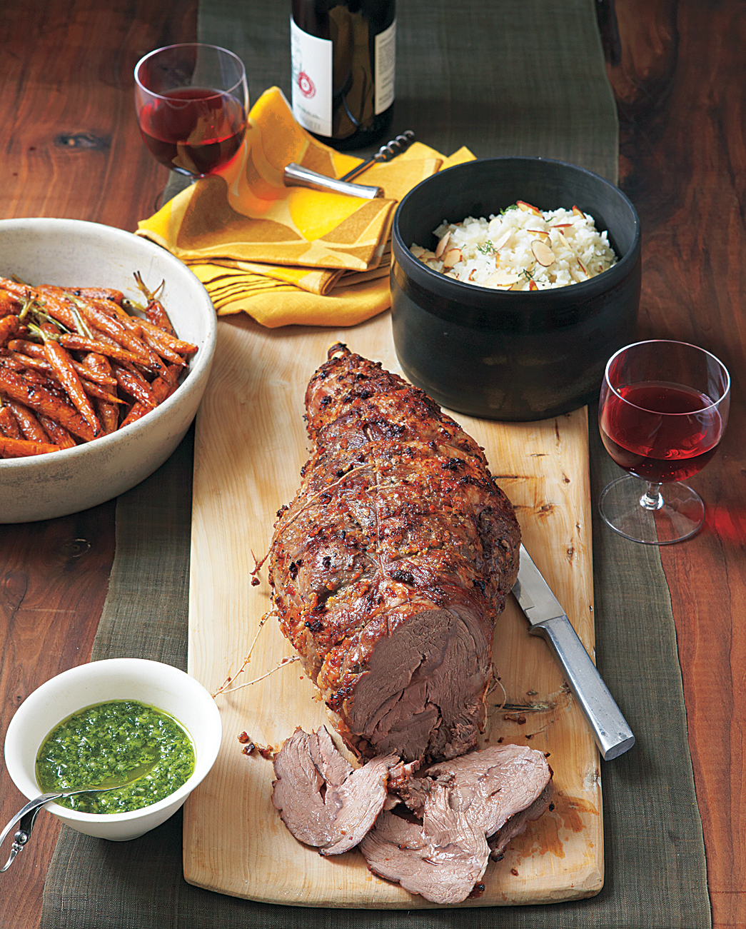 Roasted Leg of Lamb With Carrots and Honey-Mint Sauce