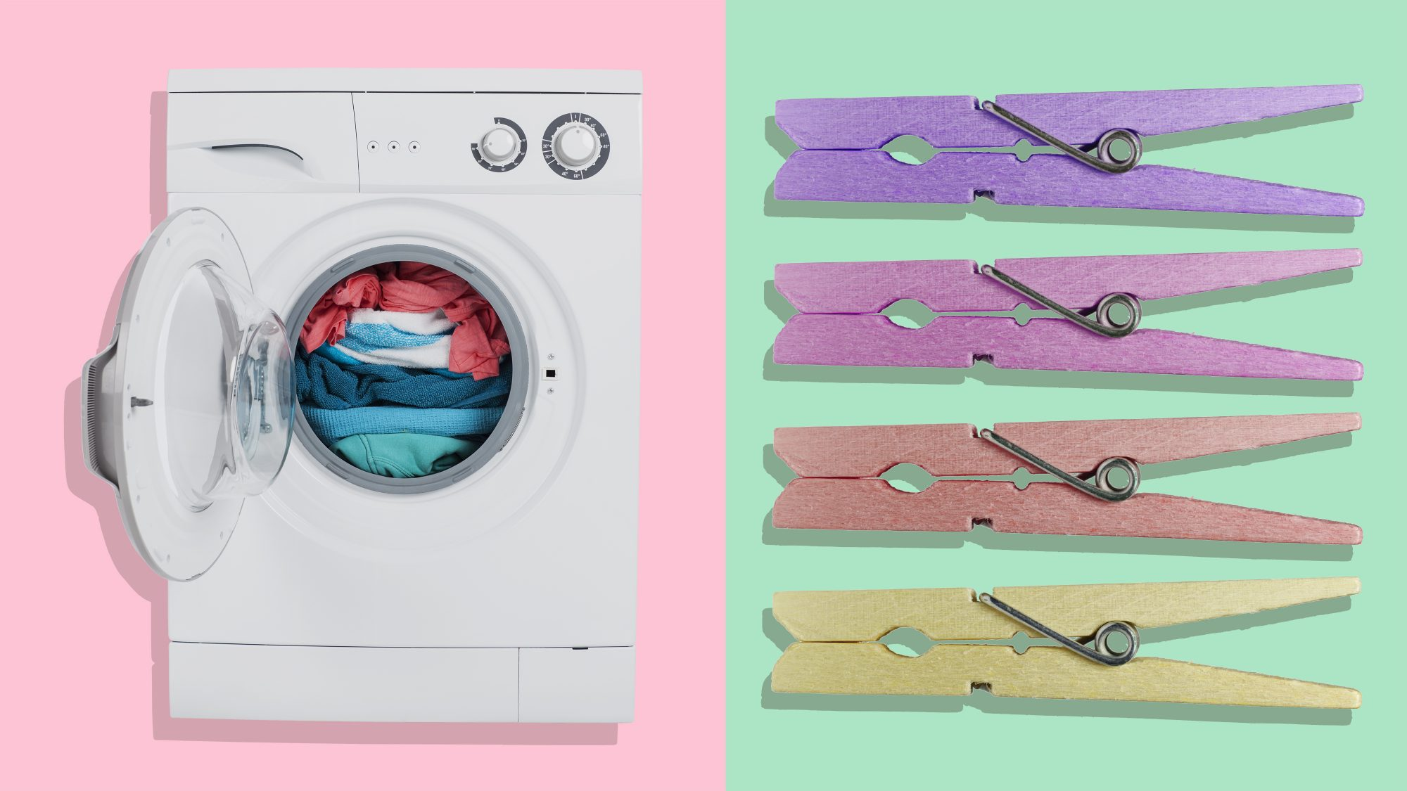 Eco-Friendly Laundry Tips, washing machine and drying rack