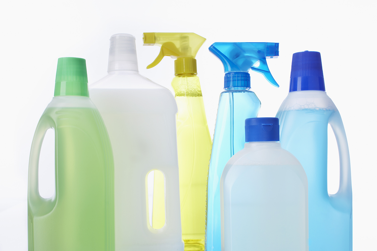 Generic empty household cleaner bottles