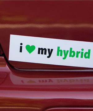 I love my hybrid bumper sticker on car