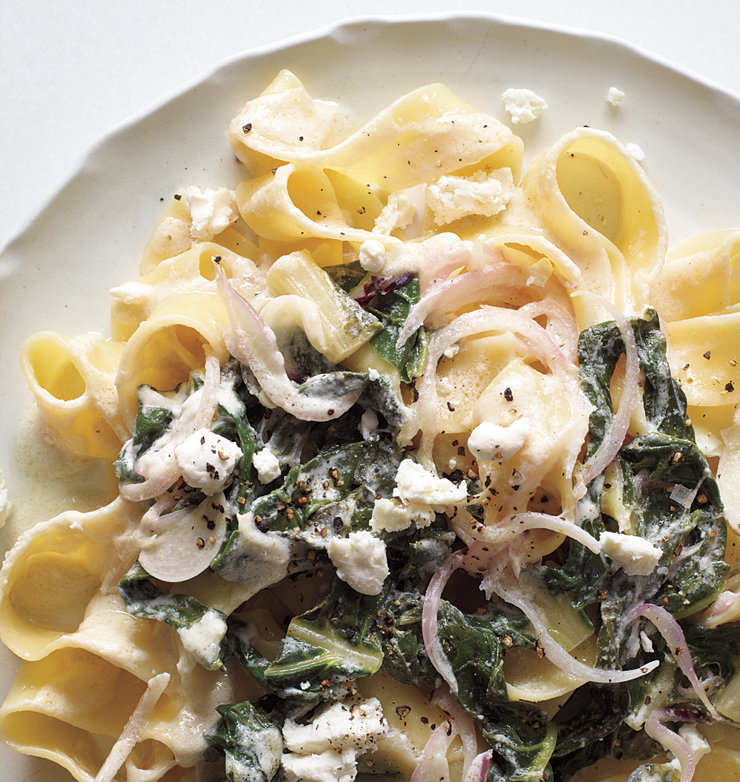 Pappardelle With Swiss Chard, Onions, and Goat Cheese