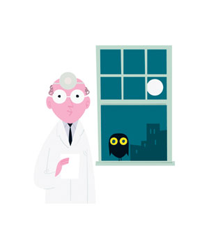 Illustration of a doctor and an owl at a window at night