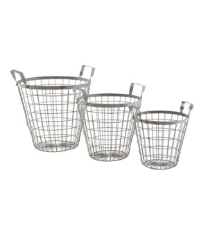 Wisteria Round Wire Baskets with Handles