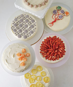 Cakes with various decorative toppings