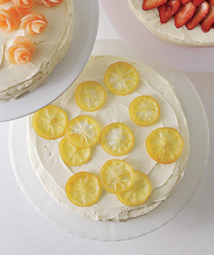 Candied lemons on cake