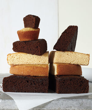Stack of pieces of various cakes