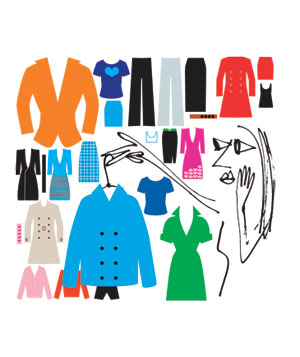 Illustration of woman choosing from many articles of clothing
