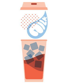 Orange and blue illustration of a disposable coffee cup with sugar cubes inside, lid lifted and the word milk