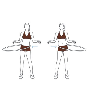Illustration of holding hula hoop at waist level