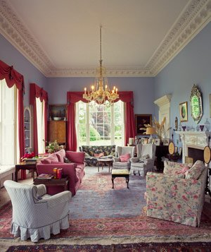 Georgian style drawing room interior of grand country house
