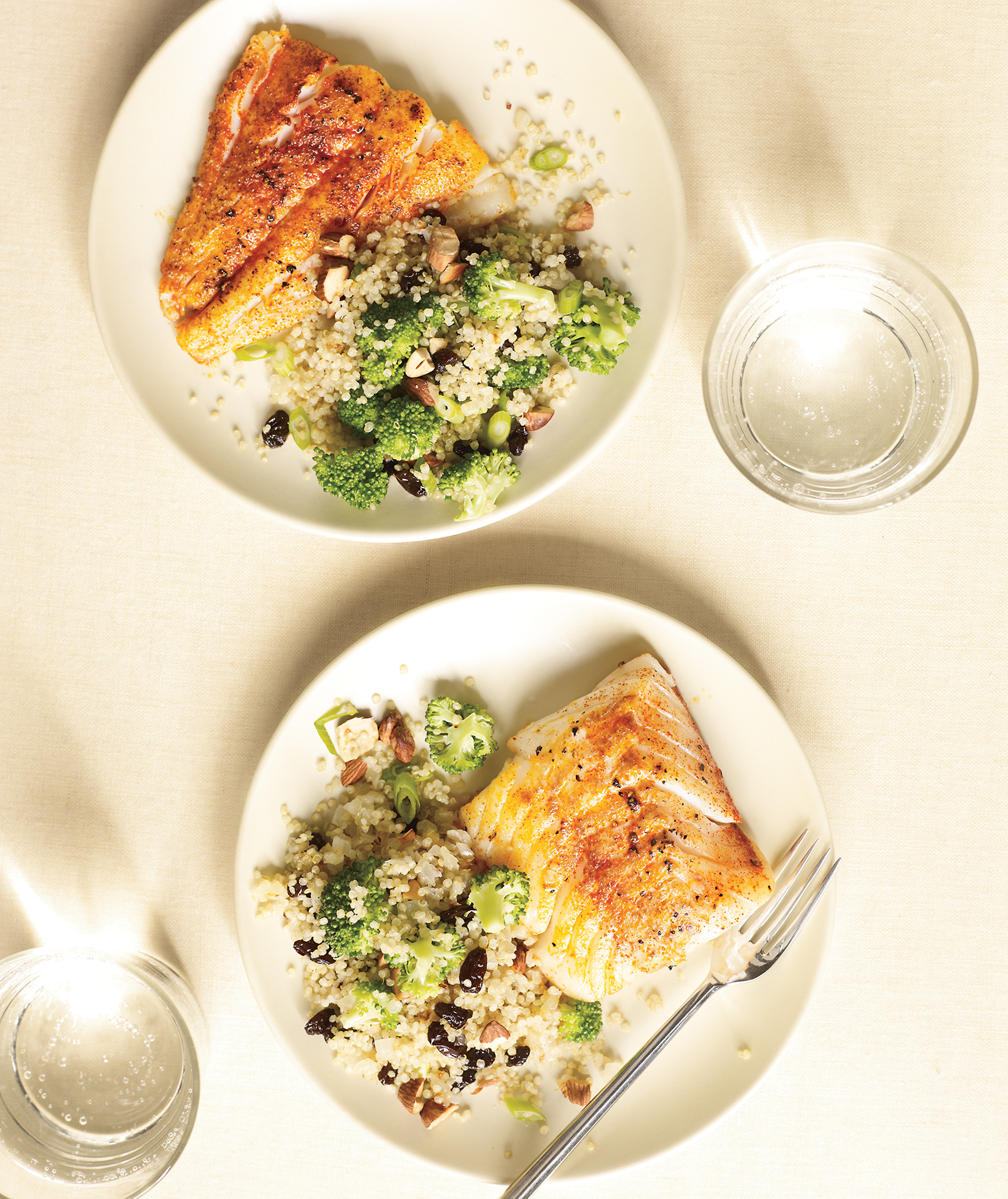Spiced Cod With Broccoli-Quinoa Pilaf, an easy healthy recipe.