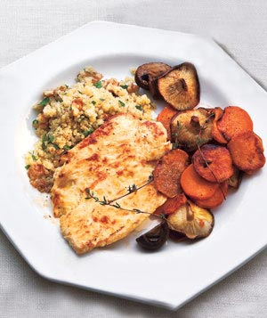 Yogurt-Marinated Chicken With Mushrooms and Sweet Potatoes