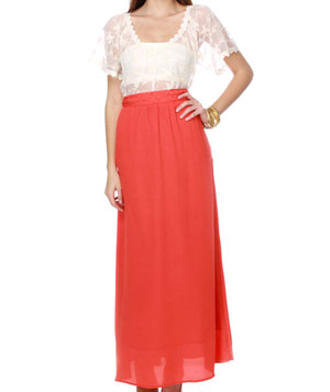 Lulu's Citrus Cooler Orange Maxi Skirt