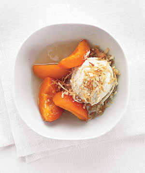 Ice Cream with Honey-Poached Apricots
