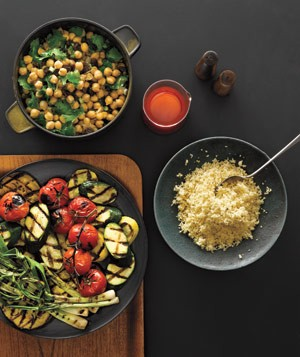 Grilled Mediterranean Vegetables, Spiced Chili Oil, and Chickpea and Raisin Salad