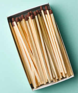 Open box of wooden matches